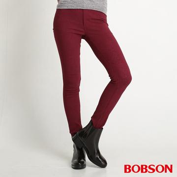 【BOBSON】女款高腰高彈力緹織布緊身褲(紅8109-13)