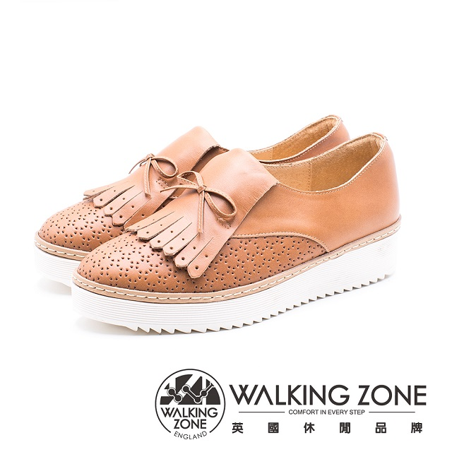 WALKING ZONE 流蘇拼接輕質鬆糕鞋 女鞋 棕 A55-832206-79