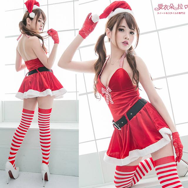 聖誕裝 中大尺碼紅色洋裝 深V性感聖誕裙+聖誕帽-愛衣朵拉K056