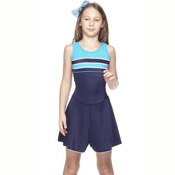 【SAIN SOU】少女連身裙泳裝附泳帽A88413
