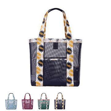 【JIDA】繽紛印花系列網格單肩收納袋/戶外包-藍色俏皮