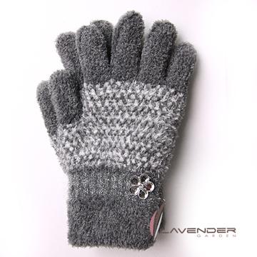 Lavender-典雅晶鑽雙層手套-灰色