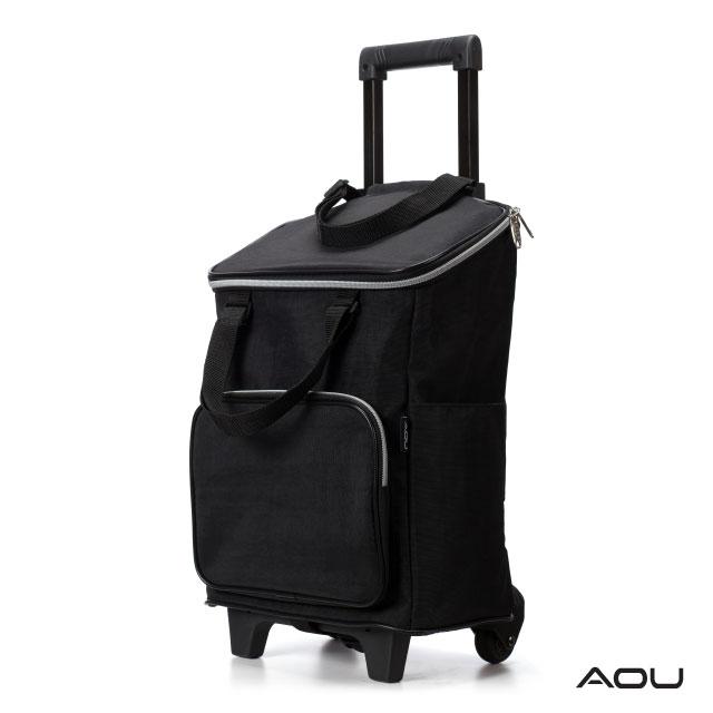 AOU 台灣製造 高防水耐重布料 時尚輕巧購物車 菜籃車 載運車(黑色)29-022D