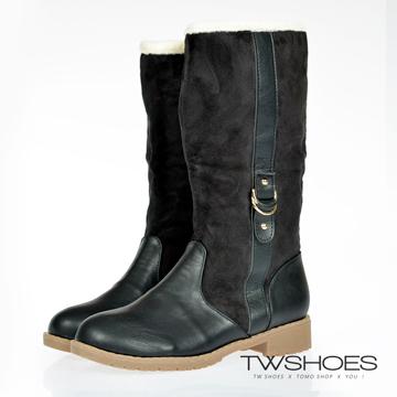 台灣鞋網‧皮質拼接絨布側拉鍊內鋪毛長靴【K168B3098】-黑