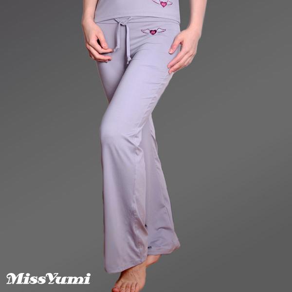 MISSYUMI天使圖騰刺繡款吸濕排汗瑜珈長褲( 灰 33102 )