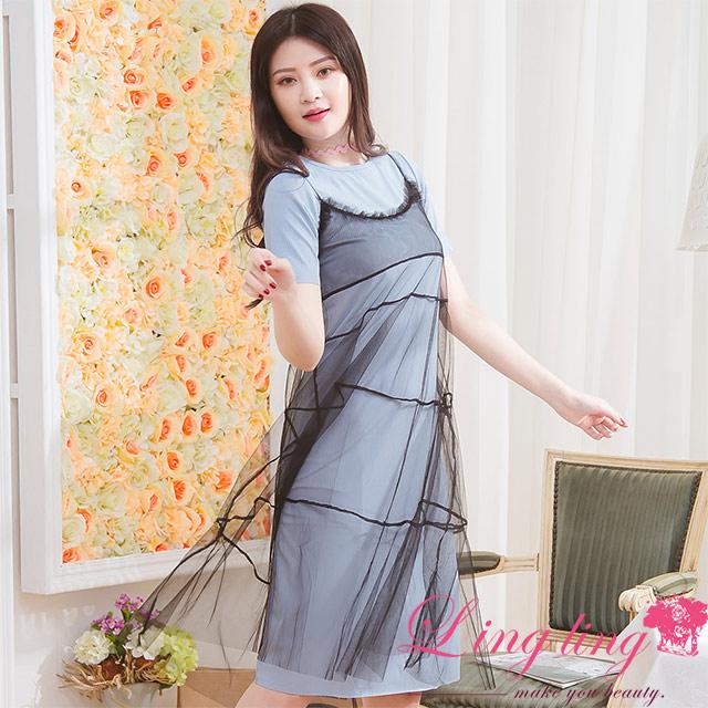 lingling A3829-01青春洋溢坑直紋短袖洋裝+蛋糕拼接細肩帶紗質洋裝兩件式(甜蜜藍)
