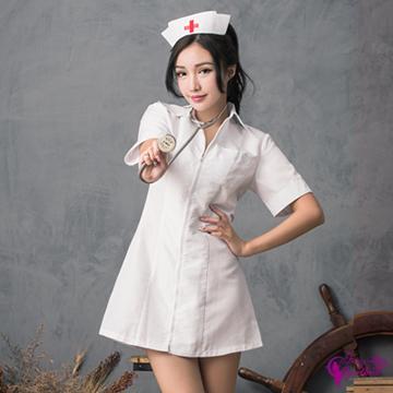 【Sexy Cynthia】角色扮演 白色連身拉鍊式護士角色扮演服二件組