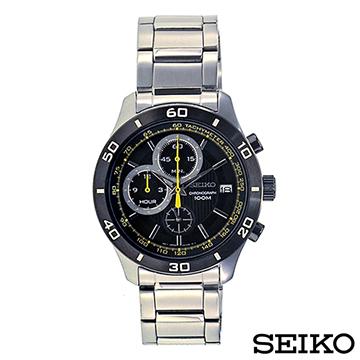 SEIKO精工  都會熟男風三眼計時視距儀石英腕錶 SSB195P1