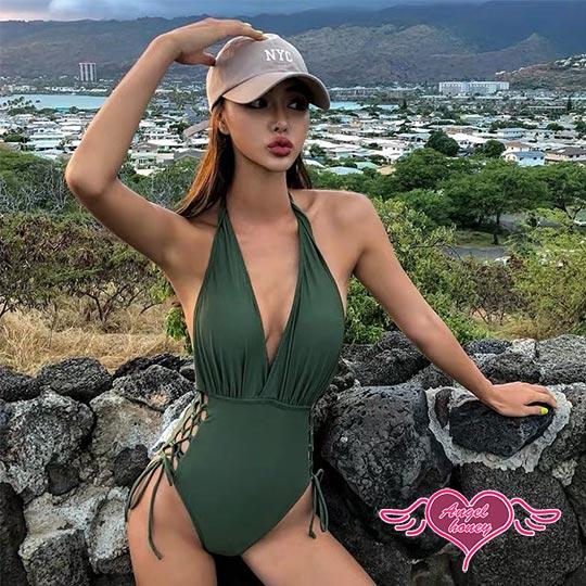 天使霓裳 AngelHoney 沉靜風韻 性感一件式連身泳裝 綠 SA9001