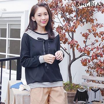 [S-7L熊衣褲語]X140柔和而素雅.滾邊雙配色蝴蝶結圓領長袖上衣(黑、灰S-XL)