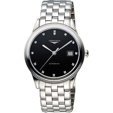 LONGINES 浪琴 Flagship 經典純粹真鑽機械腕錶 黑 38.5mm L48744576