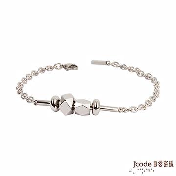 J'code真愛密碼 偏執面純銀+白鋼男手鍊