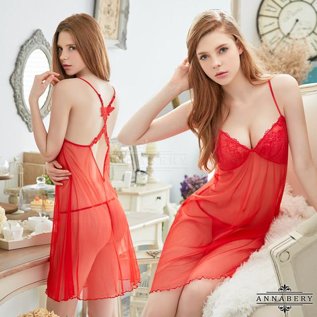 大尺碼Annabery火辣紅色柔紗交叉美背二件式性感睡衣