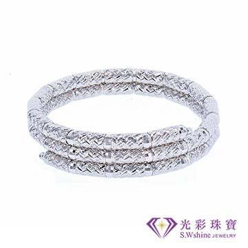 光彩珠寶  日本18K金磁鐵手環/戒指二用款 銀色