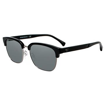 【EMPORIO ARMANI】復古眉框太陽眼鏡-黑框灰水銀鏡面(#2071D-50176G)