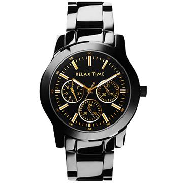 RELAX TIME 經典三眼錶款 黑金 38mm R0800-16-21B