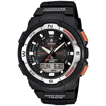 CASIO 都市探險多功能休閒雙顯運動錶(橘黑)