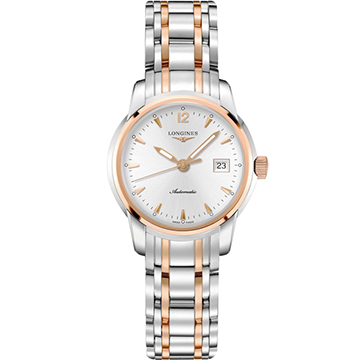 LONGINES 浪琴 Saint-Imier 大三針機械女錶 銀x雙色版 30mm L25635727