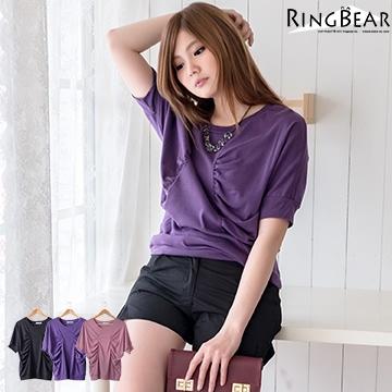 [S-7L熊衣褲語]修飾完美身型.U331蝴蝶結抓皺素面圓領短袖上衣(黑、紅、紫M-XL)