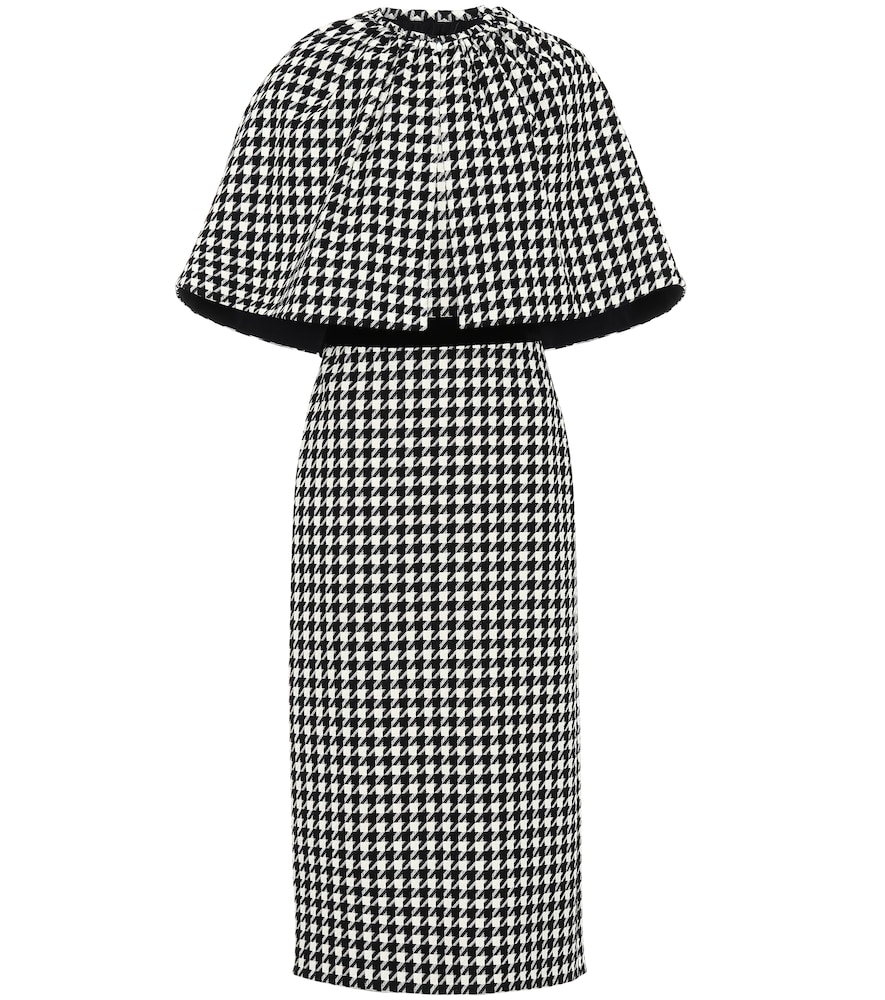 Houndstooth wool-blend cape dress