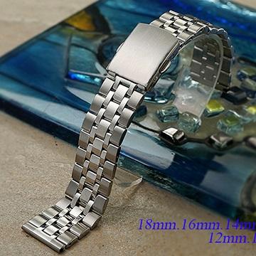 全新 小尺寸不鏽鋼五珠按壓摺疊扣-金屬錶帶 (18mm.16mm.14mm.12mm.10mm)