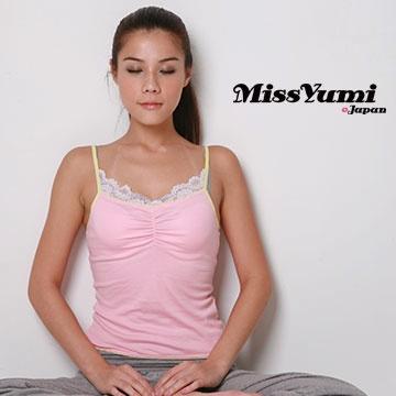 MissYumi 100% 純棉細肩帶胸前抓皺蕾絲背心(粉紅)