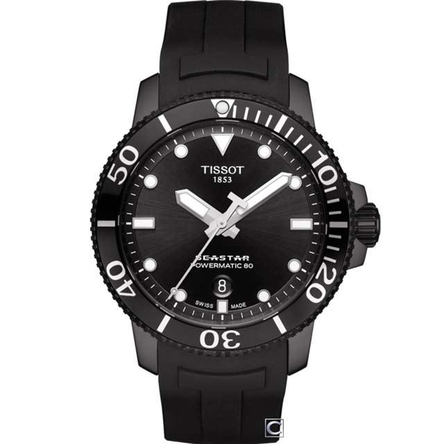 TISSOT Seastar 海星300米潛水機械錶(T1204073705100)43mm