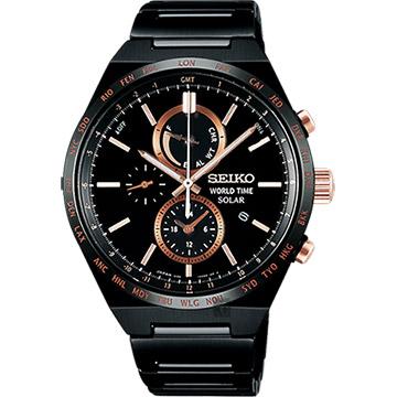 SEIKO精工 SPIRIT 太陽能兩地時間計時腕錶-鍍黑/41mm V195-0AE0K(SBPJ039J)