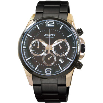 Audrey 歐德利 躍動時尚三眼計時腕錶(黑/42mm) AUGM5635-A