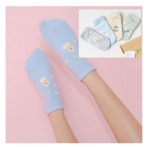 新品立體可愛卡通小動物造型女襪-4入盒裝