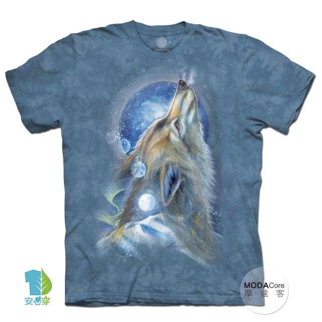 摩達客-(預購)美國進口The Mountain 白狼嘯月 純棉環保藝術中性短袖T恤