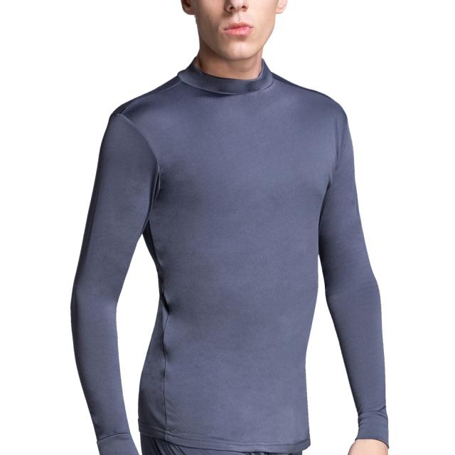 【棉花共和國】新熱著感內刷毛男半高領長袖衫3件組-灰