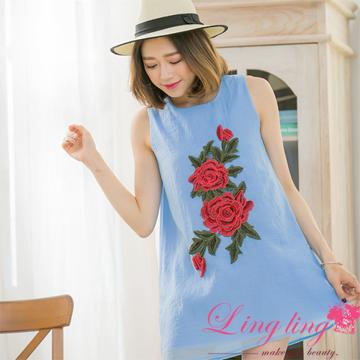 lingling A3349-01時尚巧思玫瑰刺繡皺感紗背心小洋裝(時尚藍)