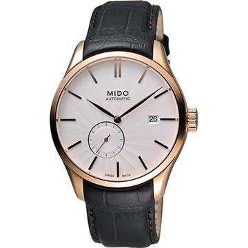 MIDO Belluna II 小秒針機械腕錶-銀x玫瑰金框/40mm M0244283603100