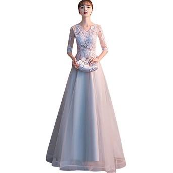 プリンセス お嬢様 デート 体型カバー dress 総レース コサージュ 二次会 発表会 花嫁 海外 挙式 ウエディングドレス (XL, グレー)