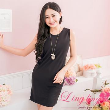 lingling A2504-01歐美簡約挖領黑色百搭背心洋裝(簡約黑)