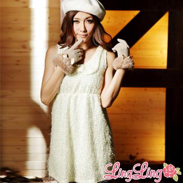 lingling A504-01蝶結混銀蔥橫紋背心裙(溫柔米白)