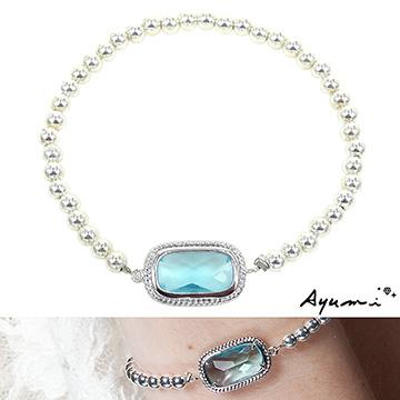 【Ayumi】銀珠串方塊琉璃手鍊(水藍)