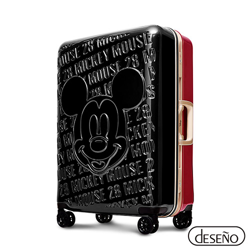Disney 皇家米奇復刻款28吋浮雕系列鋁框行李箱(黑紅)