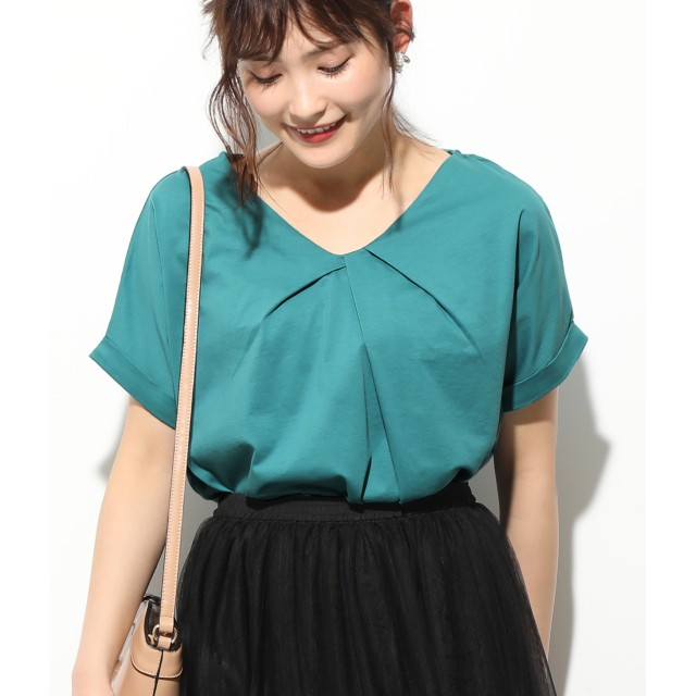 Tシャツ - ViS 【Silky smooth touch】フロントタックフレンチ袖プルオーバー