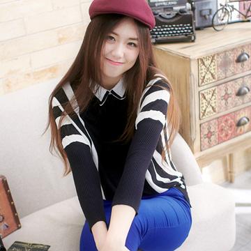 【伊莎貝拉】襯衫領黑白條紋上衣A418(摩登黑白)