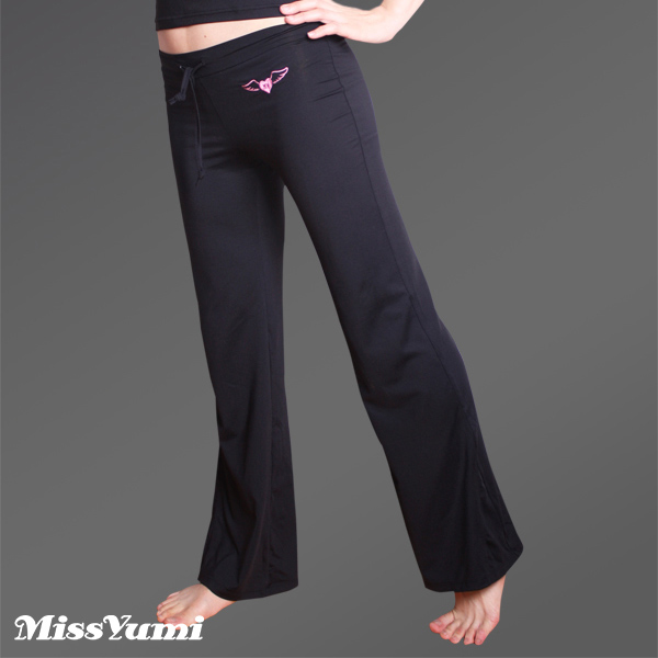 MISSYUMI天使圖騰刺繡款吸濕排汗瑜珈長褲( 黑 33101 )