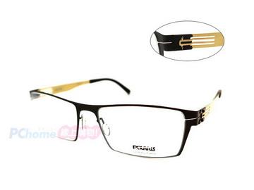 POLARIS 德國專利 超輕量一體成形薄鋼鈦 無螺絲無焊點設計光學鏡框 PS3602 霧黑/金