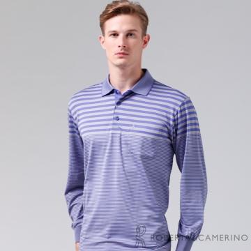 ROBERTA諾貝達 抗UV吸溼速乾長袖POLO棉衫RBE84-37紫色