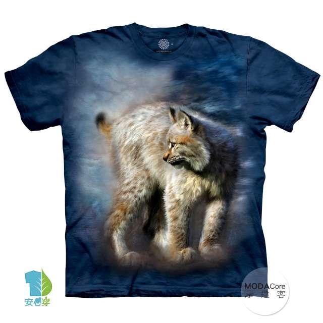摩達客-預購-大尺碼3XL-美國進口The Mountain 寂靜豹貓 純棉環保藝術中性短袖T恤