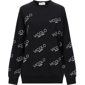 《セール開催中》VICOLO レディース スウェットシャツ ブラック one size コットン 95% / ポリウレタン 5%