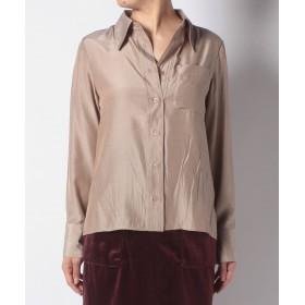 【67%OFF】 チャオパニック ビックカラーサテンシャツ レディース ベージュ F 【Ciaopanic】 【タイムセール開催中】