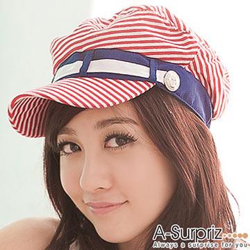 A-Surpriz 甜美海洋系女孩軍帽(熱情紅)