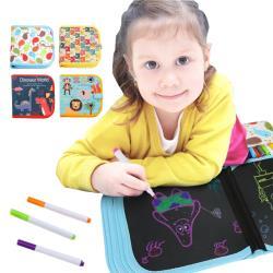 兒童繪畫本 可擦拭水彩筆雙面黑板畫冊+12支筆