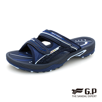 【G.P 男款簡約休閒舒適雙帶拖鞋】G9045M-藍色 (SIZE:39-44 共二色)